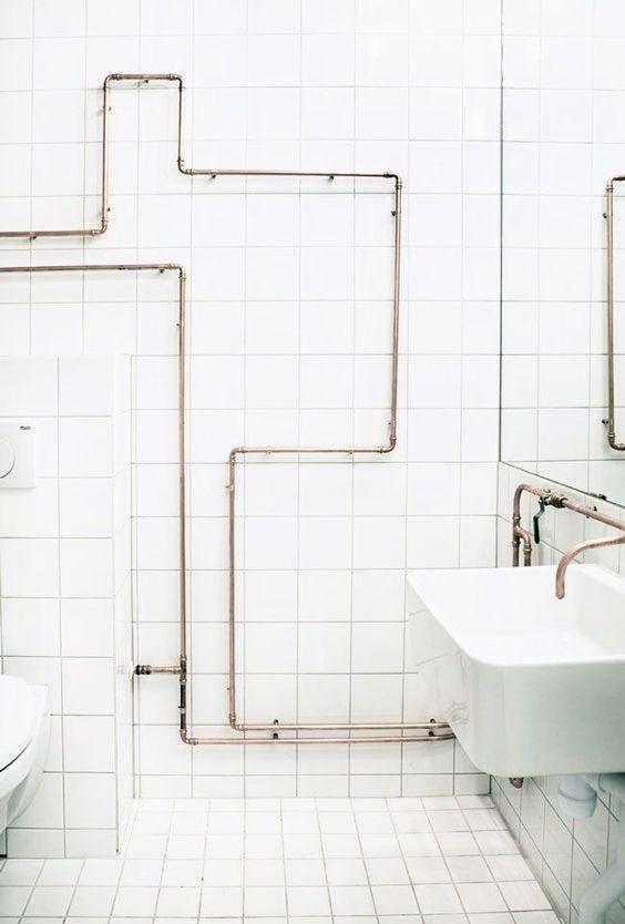tuyaux apparents tuyauterie bains douches salle prive cuivre projet tuyaux en cuivre salle de bains tuyau de salle de bains plomberie salle de - Douche Avec Tuyau Apparent