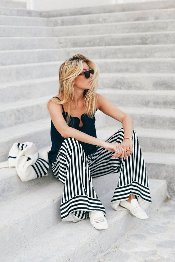 silk-pant outfits: striped pants and silk cami