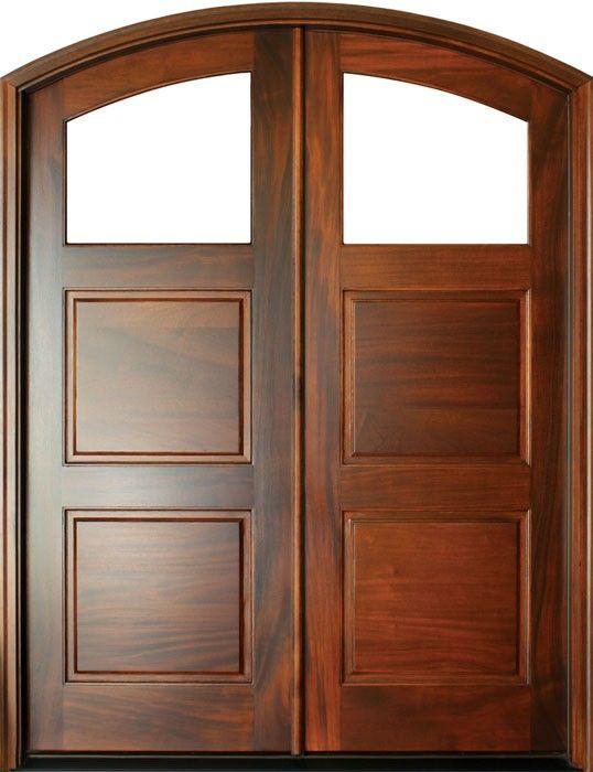 Mahogany Full View 1 Lite Over 2 Panel Double Door Arch Top Double Doors Wood Exterior Door Exterior Doors