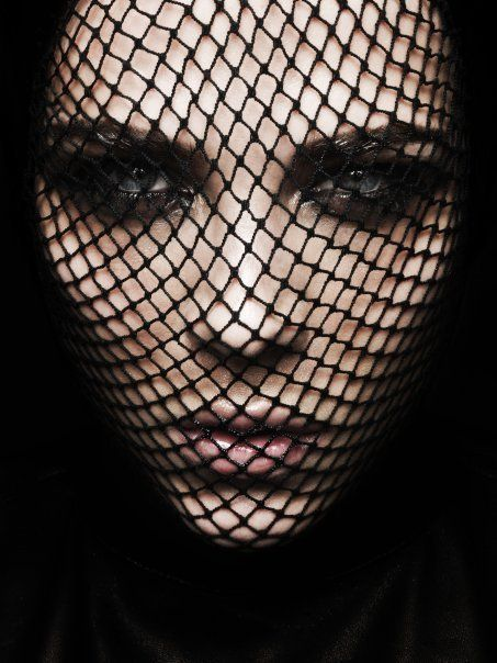 Fishnets over face ~ great Halloween idea: