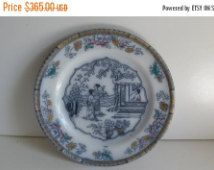 SALE 1790 Detailed Antique Oriental Flow Blue Plates Flow Blue Plate B W & C…