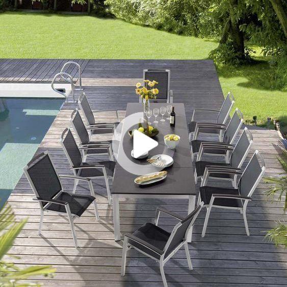 Tuinmeubelen Winnaar Trento 11 Stuks Met Uitschuifbare Aluminium Cm Vivodur 165 225 285 Ijzer Garden Furniture Sets Outdoor Furniture Sets Outdoor Decor