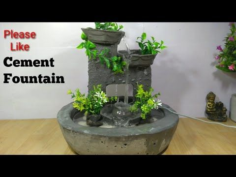 Cement Fountain How To Make Beautiful Amazing Cemented Waterfall Fountain Water Fountain Youtube In 2020 Diy Water Fountain Diy Fountain Waterfall Fountain