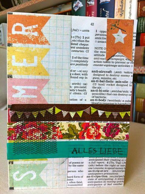 Geburtstagskarte mit Querstreifen, die absolut nicht dick machen ;-) (Decorate Cook Love)