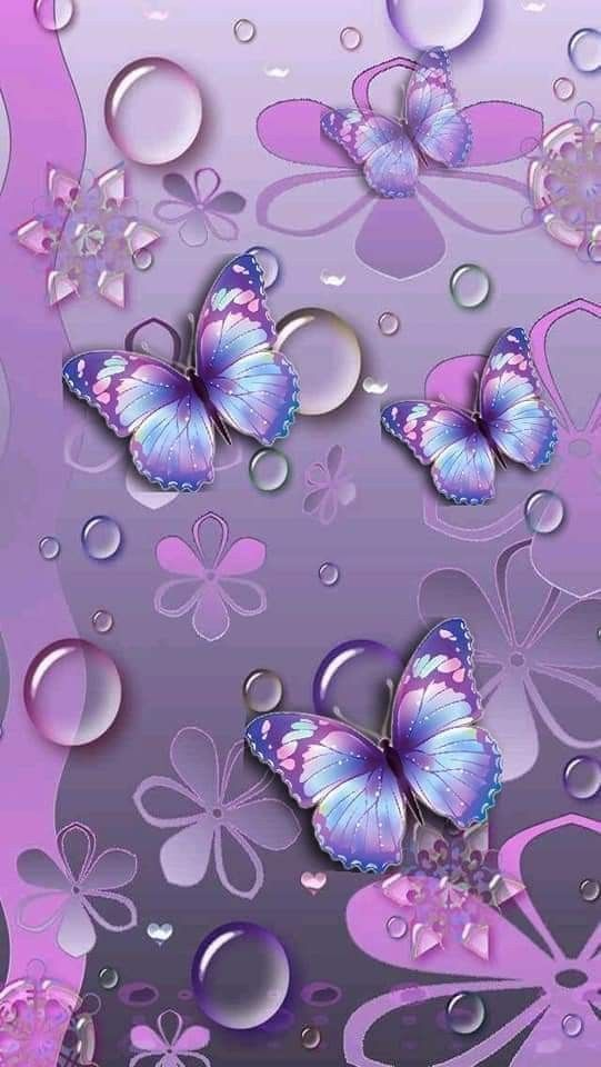 Punk Light Blue Light Purple Butterflies With Big Raindrops