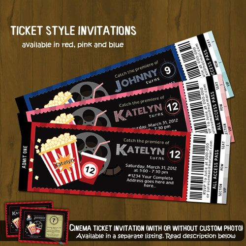 14 best Pretty Movie Night images – Ticket Style Birthday Invitations