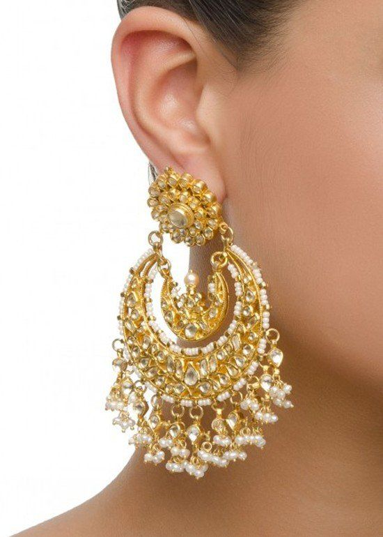 Chandelier Earrings with Kundan Stones - Earrings - Product Type ...