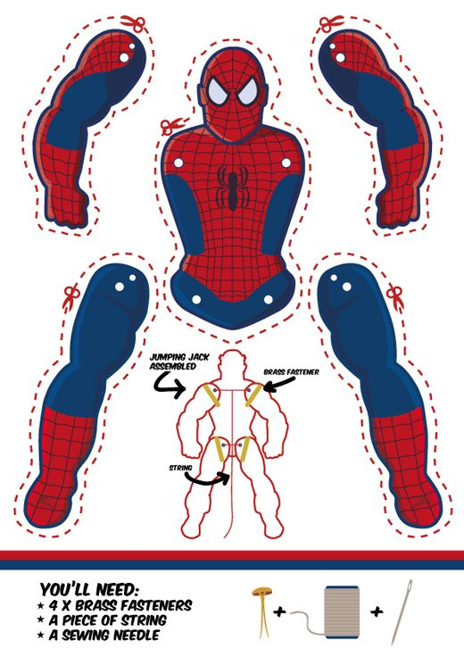 Spider-Man as a Jumping Jack. Dowload template free. Another cool superhero puppet.