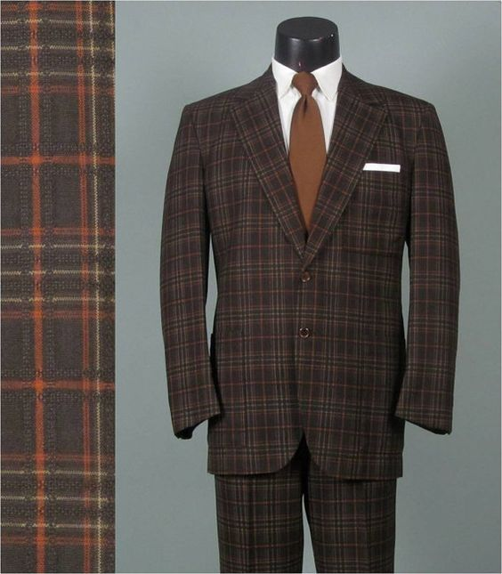Vintage 1960s Mens Suit -- Lightweight Brown Plaid Jacket and