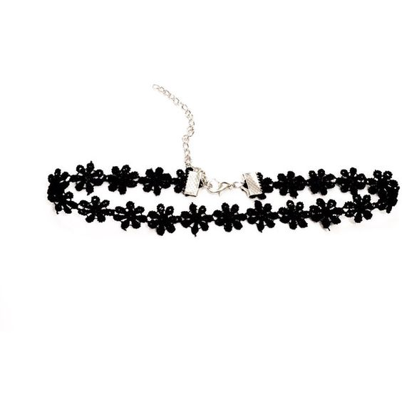 Adjustable Dainty Black Daisy Choker ($3.75) ❤ liked on Polyvore featuring jewelry, necklaces, choker necklace, goth choker, choker jewelry, adjustable necklace and gothic choker necklace: