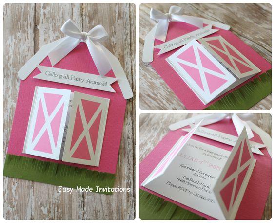 barn birthday invitations-pink