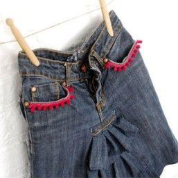 Ruffled denim skirt made from jeans