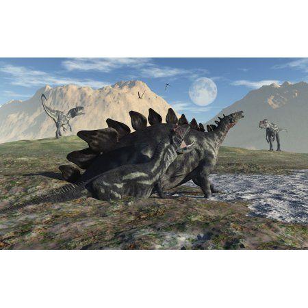 A Stegosaurus and Allosaurus caught in a deadly mud pit Canvas Art - Mark StevensonStocktrek Images (36 x 23)