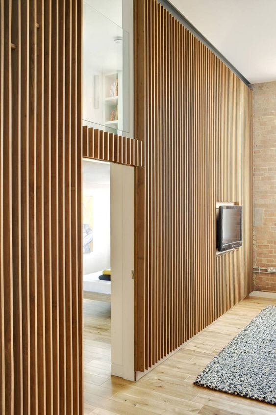 Habillage Mural Bois Ancien : Vertical Wood Slat Wall