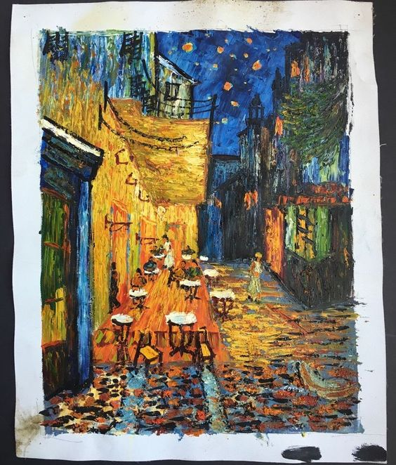After Van Gogh Original Oil Painting Cafe Terrace at Night on Canvas Signed | eBay