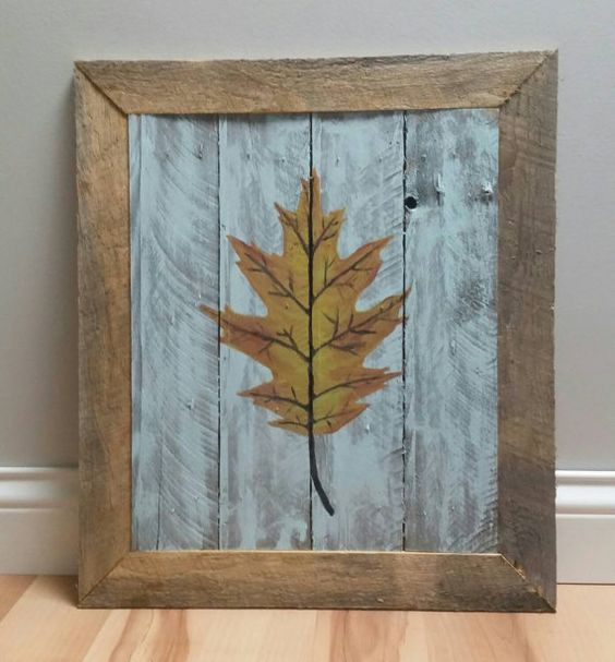 Pallet wood wall hanging of an oak leaf 16 by UpperHandWoodworking