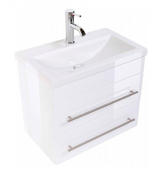 Badmobel Mars 600 Slimline Weiss Hochglanz Kleine Badezimmer Waschbecken Bad Waschtisch