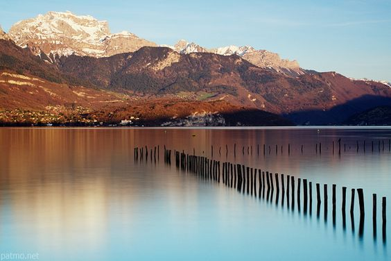 Annecy lake and Tournette mountain by a springtime afternoon. France, Haute Savoie department.