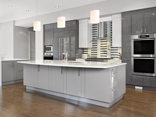 contemporary kitchen Rebecca Gagne. neutral hue, but using different shades of it give the space more depth and interest. silver setting DE6359 and looking glass DE6376 paint from Dunn Edwards.