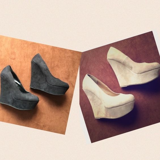 2 Wedges Black+Beige Beige pair in good condition. Black pair in decent condition Shoes Wedges