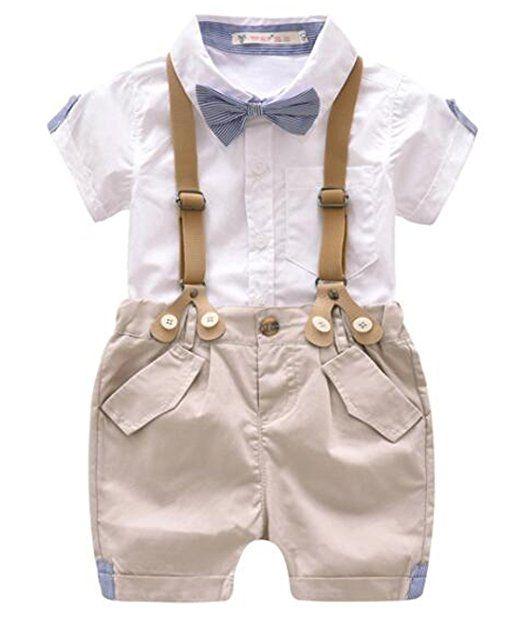 Fashion Kids Baby Boys Gentleman Bowtie Short Sleeve Shirt+Suspenders Shorts Set