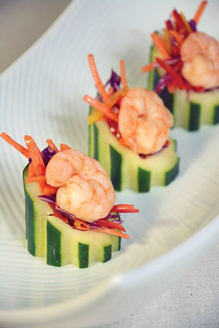 Spicy shrimp cucumber cup with asian slaw by landmark for Asian canape ideas