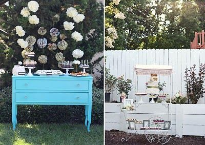 love the idea of playing with vintage home furniture in outside spaces.