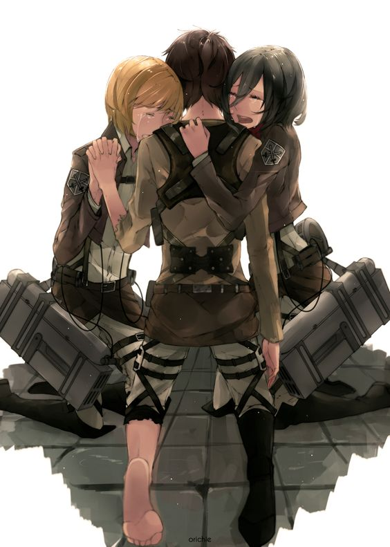 Attack On Titan Mikasa And Eren And Armin