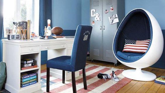 Chambre pour adolescent d cor e style usa pingl par - Conseil peinture chambre ...