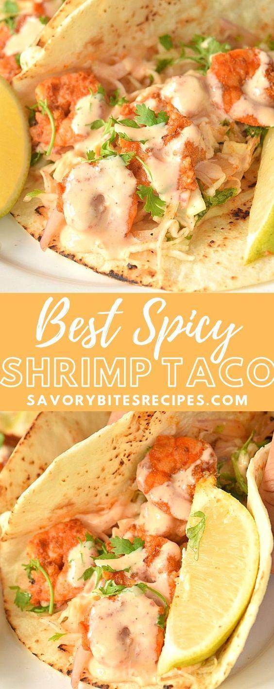 Spicy Shrimp Tacos With Cabbage Cilantro Slaw