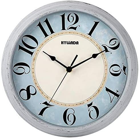 Hylanda Wall Clock Silent Vintage 12 Inch Retro Wall Clocks Battery Operated Non Ticking Decorative Kitchen Living Room Home Office School Light Grey In 2020 Retro Wall Clock Wall Clock Clock