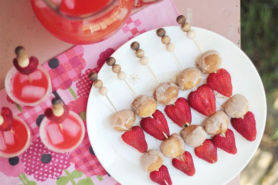 donut hole + strawberry skewers
