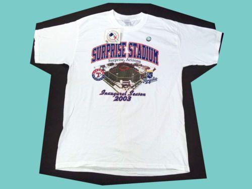 $24.99 NWT SURPRISE STADIUM 2003 INAUGURAL SEASON T-SHIRT LARGE TEXAS RANGERS & KANSAS CITY ROYALS