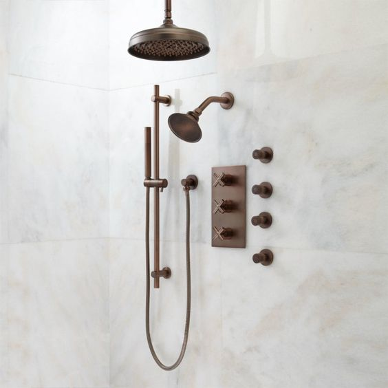 "Signature Hardware 925470-10 Exira Thermostatic Shower System with 10"" Rainfall Oil Rubbed Bronze Faucet Shower System Triple handle"