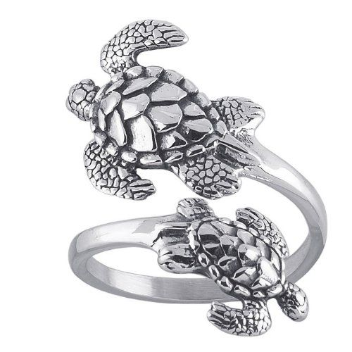 Sea Turtles Sterling Silver Ring Sea Turtle Adjustable Bypass Nautical Nature Ocean Jewelry:Amazon:Jewelry