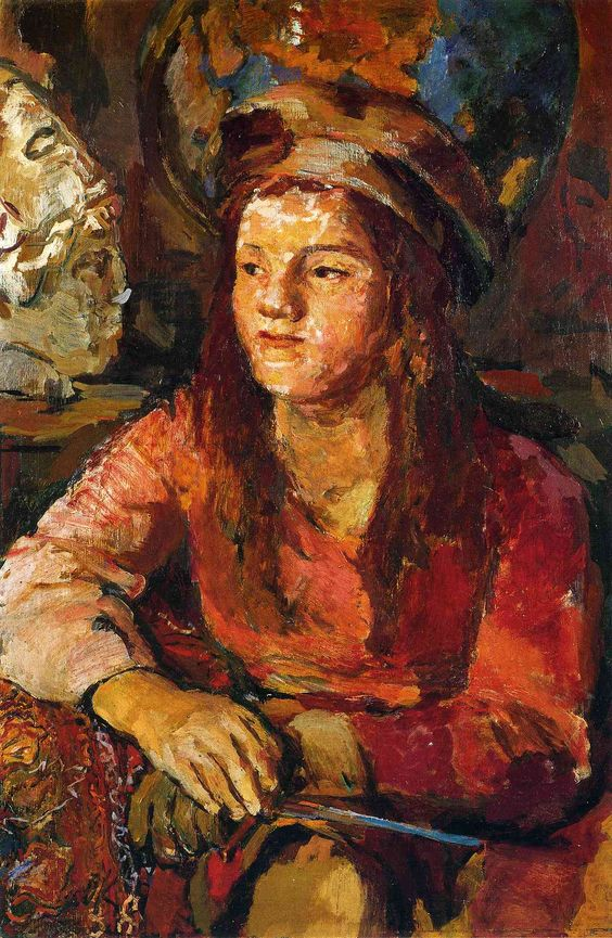 Pinks in the woman's dress, Kokoschka