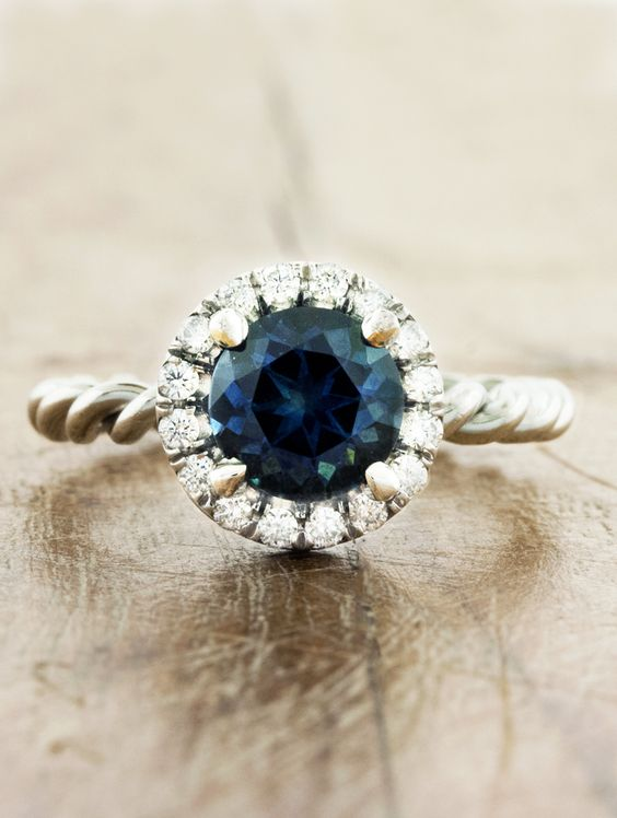Unique Blue sapphire engagement ring by Ken and Dana Design called the Kari