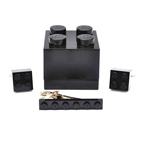 LEGO® Manschettenknöpfe & Tie Slide (schwarz) Herren Hochzeit Geburtstag Geschenk-Box Geschenk - http://schmuckhaus.online/sjp-cufflinks/lego-manschettenknoepfe-tie-slide-schwarz-box