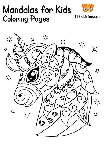 Free Printable Mandalas For Kids Coloring Pages 123 Kids Fun Apps Unicorn Coloring Pages Kids Printable Coloring Pages Mandala Coloring Pages