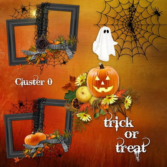 Trick or Treat Cluster Set 0 - Fall Autumn Halloween Digital Scrapbooking