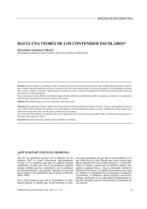Hacia una teoría de los contenidos escolares mercé izquierdo by Universidad del Cauca via slideshare