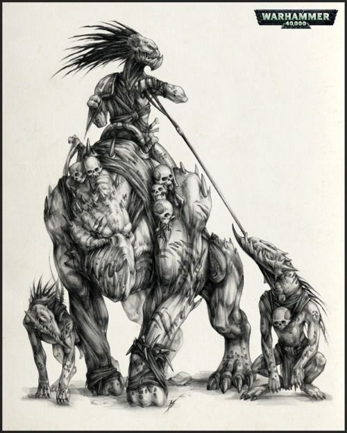 A kroot warrior riding a krootox, with a pair of kroot hounds Warhammer universe