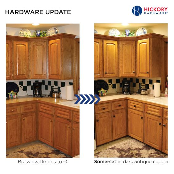 Simple Kitchen Cabinet Hardware Update: Brass Oval Knobs To Hickory  Hardwareu0027s Somerset In Dark Antique Copper. | Kitchens | Hickory Hardware |  Pinterest ...