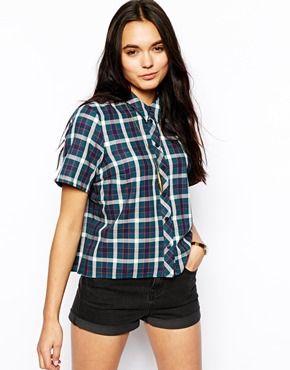 ASOS Boxy Crop Check Shirt