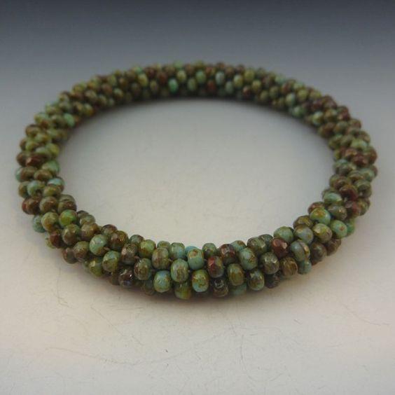 Turquoise glass bangle handmade art jewelry by DeborahLaun on Etsy, $70.00