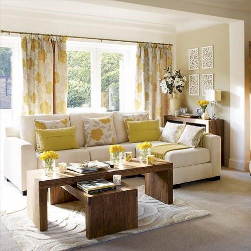 beige white yellow living room sofa pillow floral curtains ...