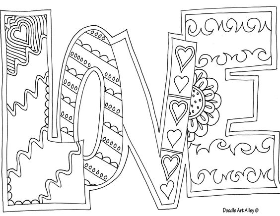 Love adult coloring page drawing and lettering for Adult love coloring pages