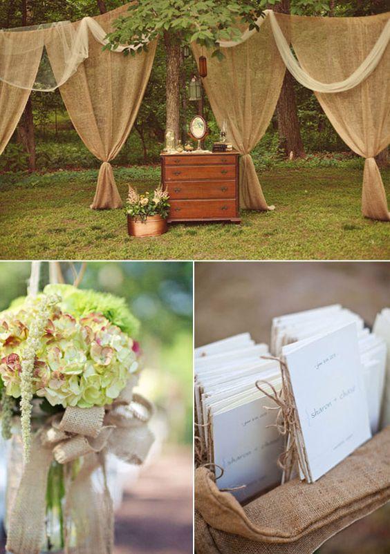 Decoraci n para bodas con yute ambientacion rustica for Decoracion rustica para bodas