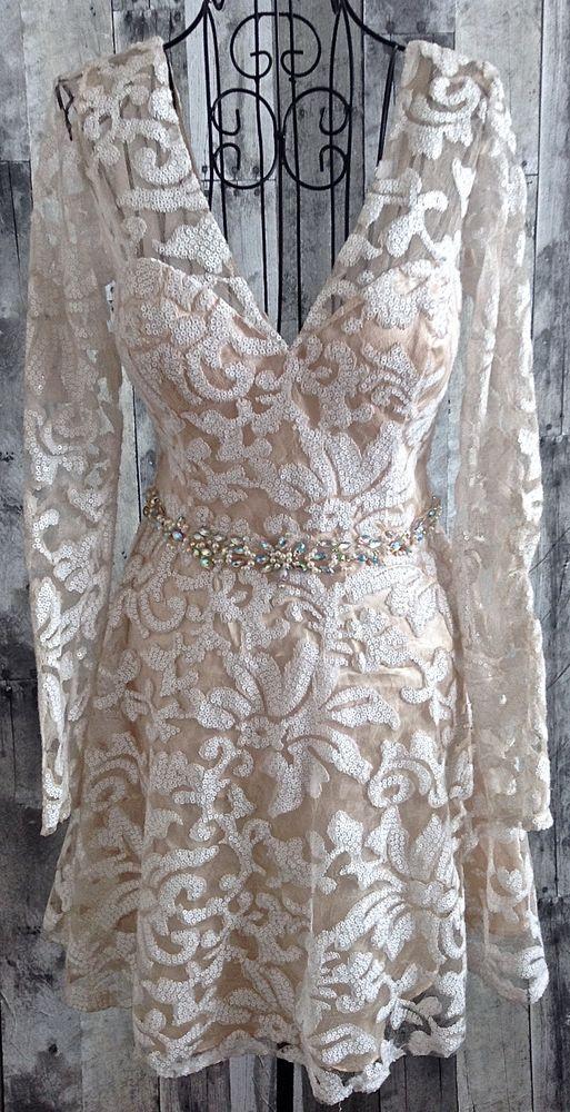 Masquerade Rhinestone Sequin Faux Pearl Lace Dress Bra Mesh Lined Size 7/8…
