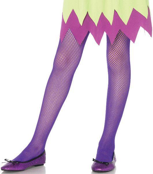 Kids Fishnet tights - Neon Purple | Large (7/10)